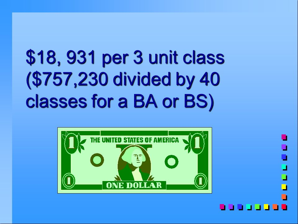$18, 931 per 3 unit class ($757,230 divided by 40 classes for a BA or BS)