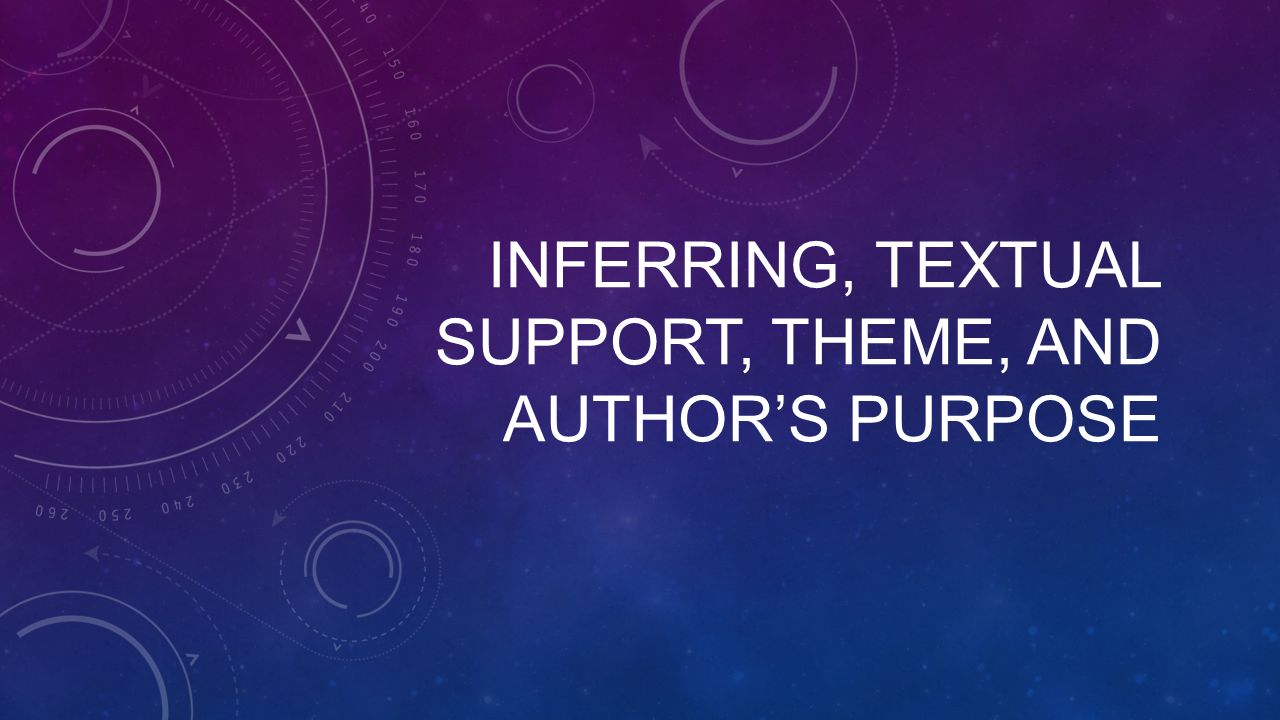 INFERRING, TEXTUAL SUPPORT, THEME, AND AUTHOR'S PURPOSE