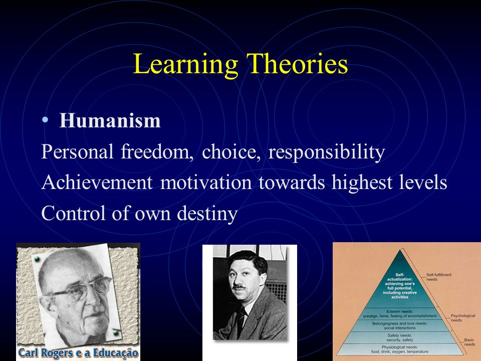 Learning Theories Humanism Personal freedom, choice, responsibility Achievement motivation towards highest levels Control of own destiny