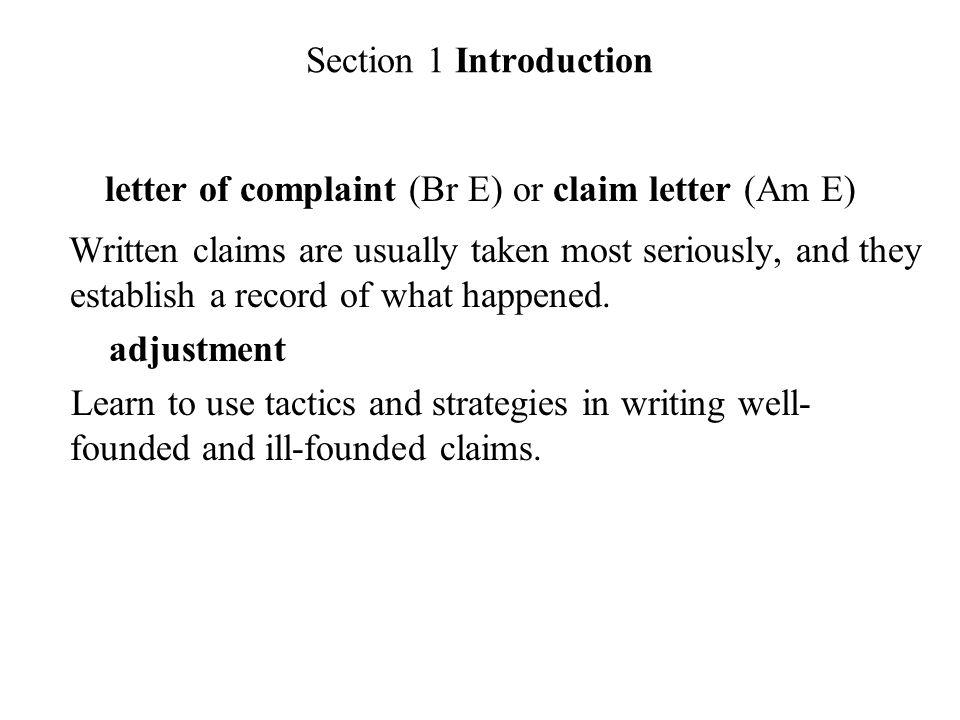 Chapter eleven complaints and adjustments section 1 introduction section 1 introduction letter of complaint br e or claim letter am e altavistaventures Images
