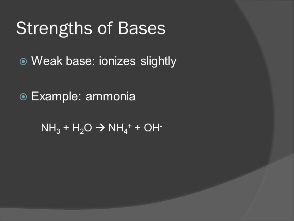 Strengths of Bases  Strong bases: ionize completely  Example: NaOH  Na + +OH -