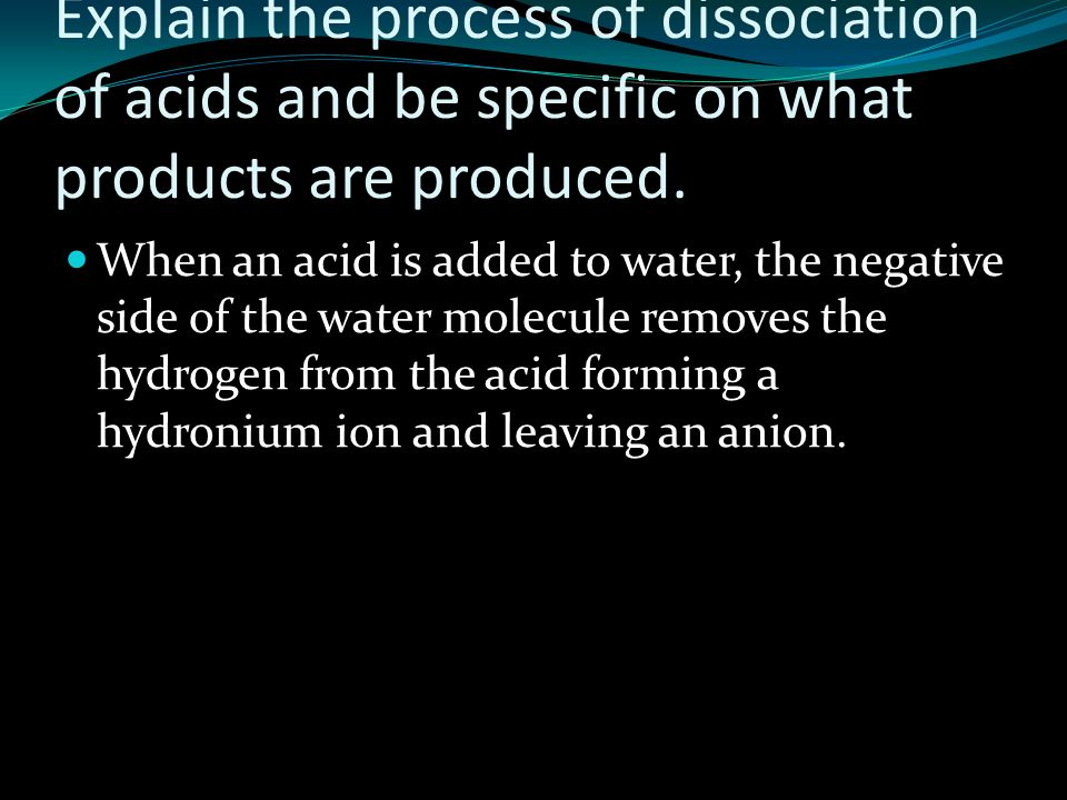 Explain the process of dissociation of acids and be specific on what products are produced.