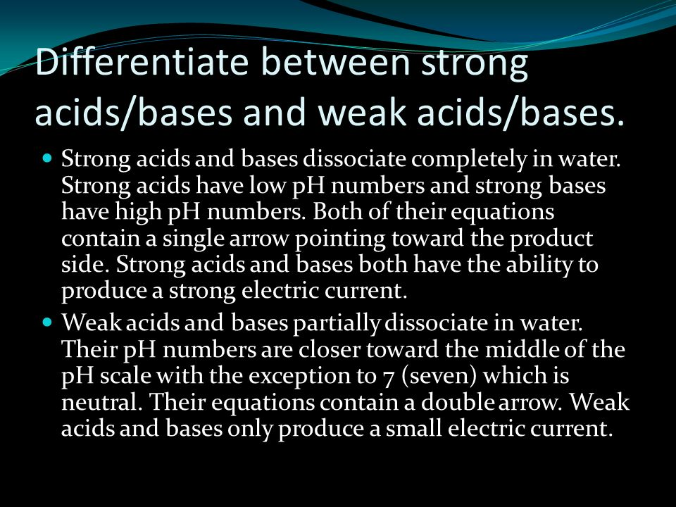 Differentiate between strong acids/bases and weak acids/bases.