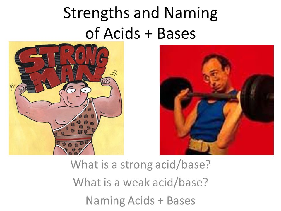 Strengths and Naming of Acids + Bases What is a strong acid/base.
