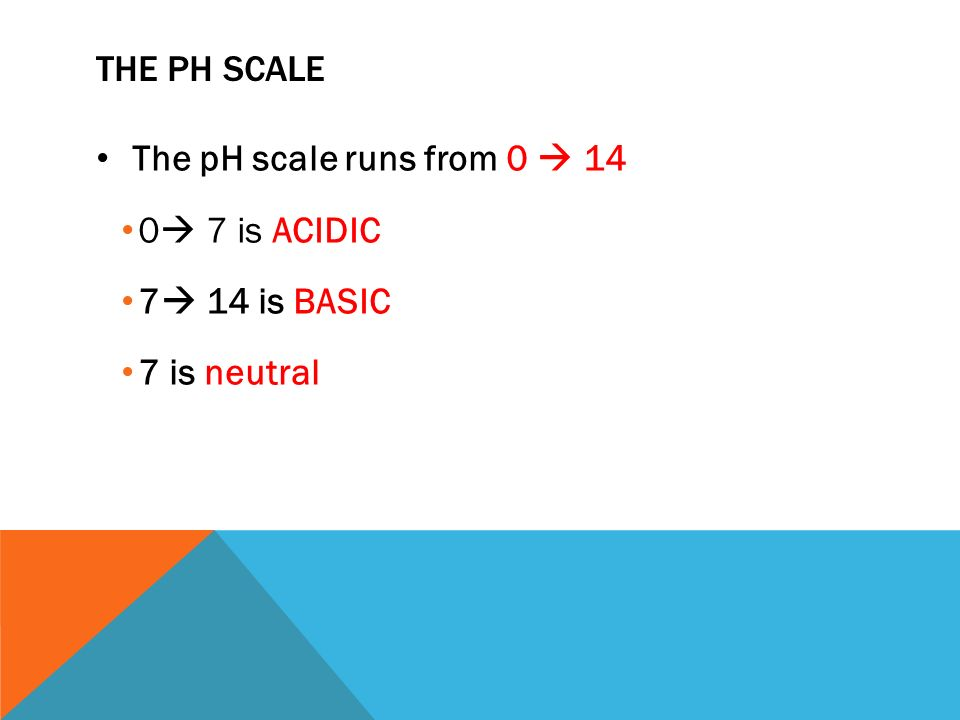 THE PH SCALE The pH scale runs from 0  14 0  7 is ACIDIC 7  14 is BASIC 7 is neutral