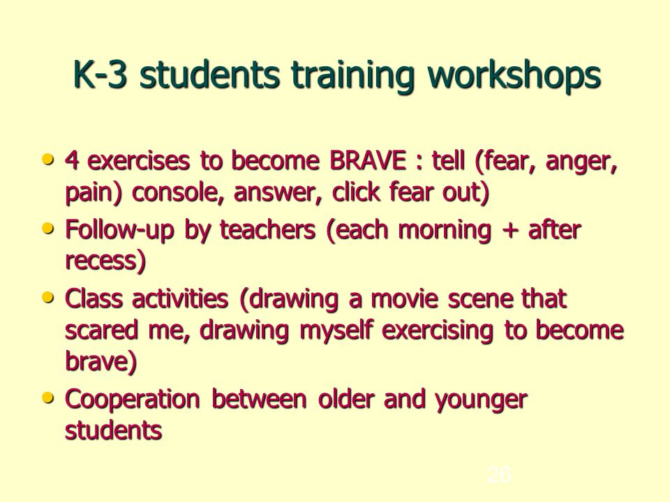 26 K-3 students training workshops 4 exercises to become BRAVE : tell (fear, anger, pain) console, answer, click fear out) 4 exercises to become BRAVE : tell (fear, anger, pain) console, answer, click fear out) Follow-up by teachers (each morning + after recess) Follow-up by teachers (each morning + after recess) Class activities (drawing a movie scene that scared me, drawing myself exercising to become brave) Class activities (drawing a movie scene that scared me, drawing myself exercising to become brave) Cooperation between older and younger students Cooperation between older and younger students