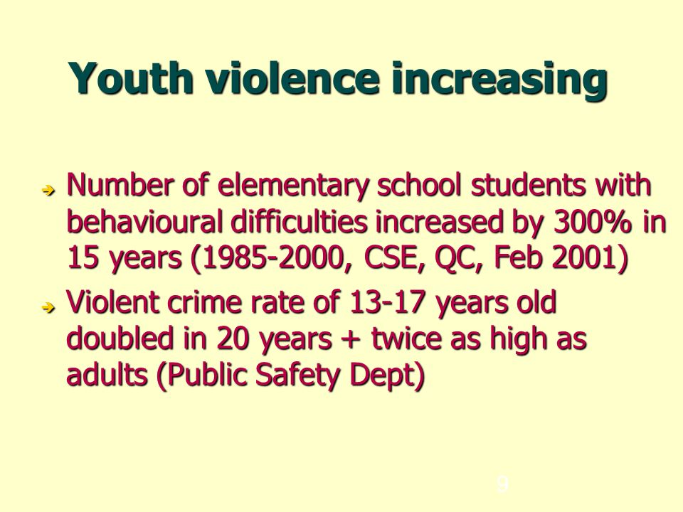 9 Youth violence increasing  Number of elementary school students with behavioural difficulties increased by 300% in 15 years (1985-2000, CSE, QC, Feb 2001)  Violent crime rate of 13-17 years old doubled in 20 years + twice as high as adults (Public Safety Dept)