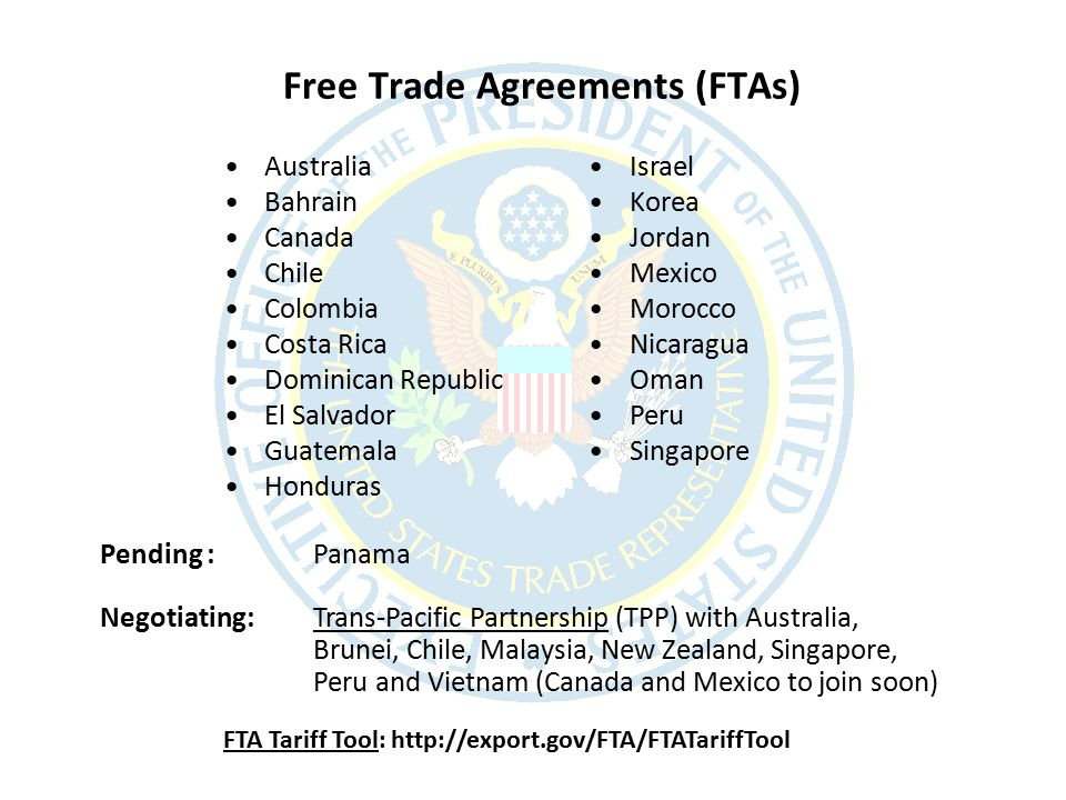 September 28 2012 expanding market opportunities through trade 6 free trade agreements ftas australia bahrain canada chile colombia costa rica dominican republic el salvador guatemala honduras israel korea jordan platinumwayz