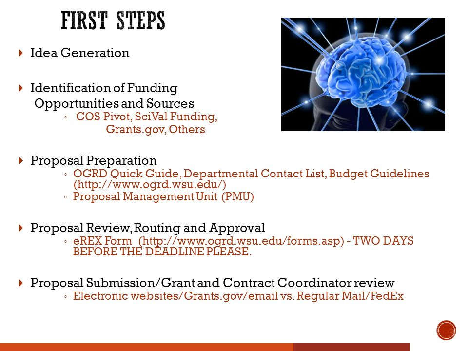  Idea Generation  Identification of Funding Opportunities and Sources ◦ COS Pivot, SciVal Funding, Grants.gov, Others  Proposal Preparation ◦ OGRD Quick Guide, Departmental Contact List, Budget Guidelines (  ◦ Proposal Management Unit (PMU)  Proposal Review, Routing and Approval ◦ eREX Form (  - TWO DAYS BEFORE THE DEADLINE PLEASE.