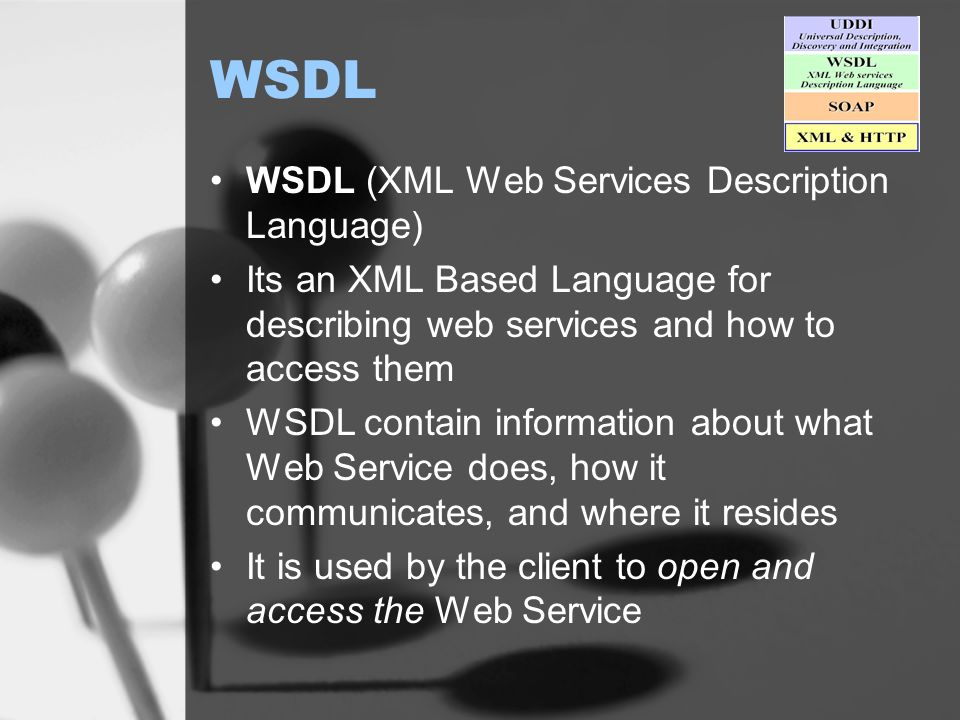 WSDL WSDL (XML Web Services Description Language) Its an XML Based Language for describing web services and how to access them WSDL contain information about what Web Service does, how it communicates, and where it resides It is used by the client to open and access the Web Service