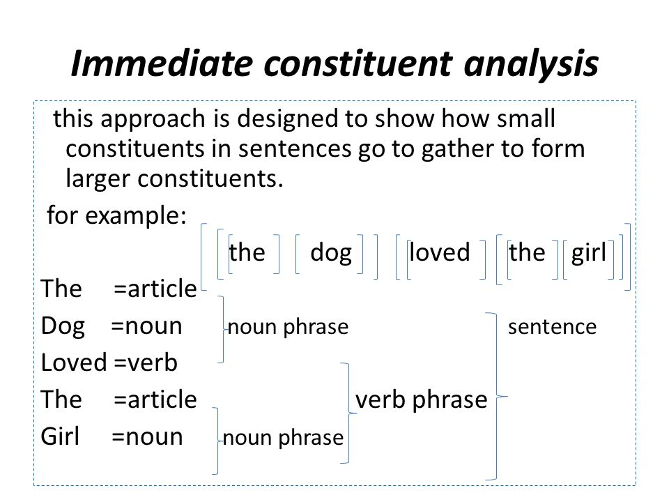 Immediate constituent analysis this approach is designed to show how small constituents in sentences go to gather to form larger constituents.