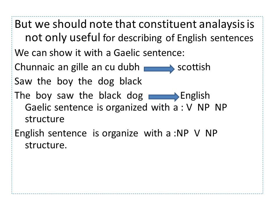 But we should note that constituent analaysis is not only useful for describing of English sentences We can show it with a Gaelic sentence: Chunnaic an gille an cu dubh scottish Saw the boy the dog black The boy saw the black dog English Gaelic sentence is organized with a : V NP NP structure English sentence is organize with a :NP V NP structure.