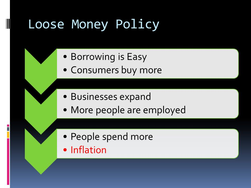 Loose Money Policy Borrowing is Easy Consumers buy more Businesses expand More people are employed People spend more Inflation