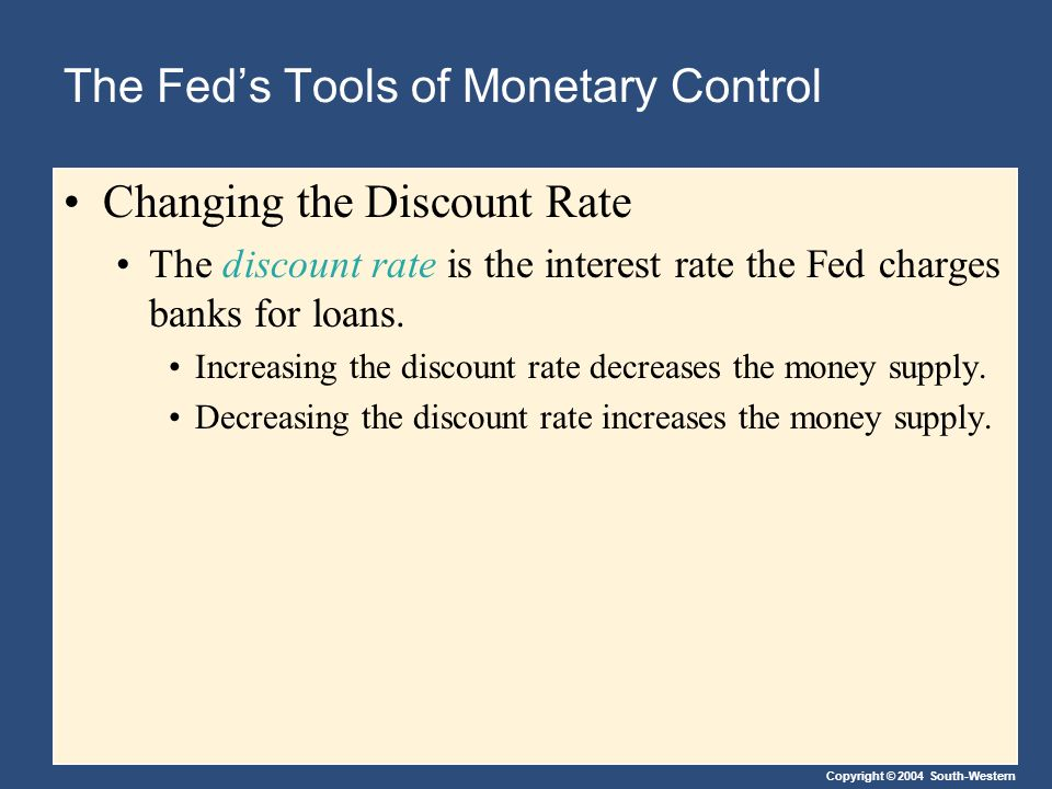 Copyright © 2004 South-Western The Fed's Tools of Monetary Control Changing the Discount Rate The discount rate is the interest rate the Fed charges banks for loans.