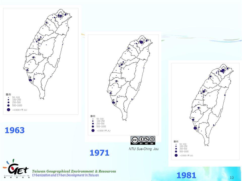 Taiwan Geographical Environment & Resources Urbanization and Urban Development in Taiwan 13 1963 1971 1981 NTU Sue-Ching Jou