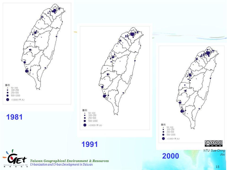 Taiwan Geographical Environment & Resources Urbanization and Urban Development in Taiwan 18 1981 1991 2000 NTU Sue-Ching Jou