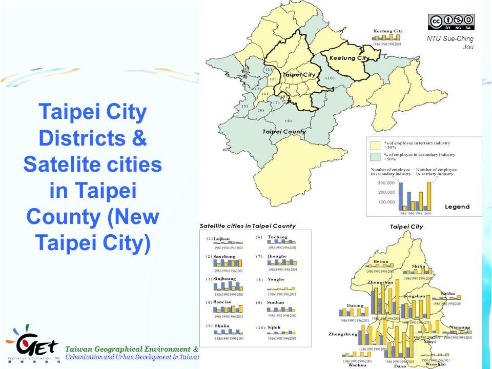 Taiwan Geographical Environment & Resources Urbanization and Urban Development in Taiwan 34 Taipei City Districts & Satelite cities in Taipei County (New Taipei City) NTU Sue-Ching Jou