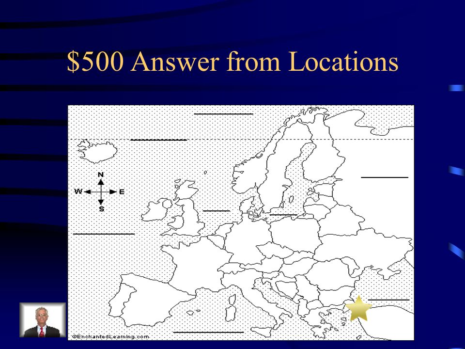 $500 Question from Locations Where on this map is the Byzantine Empire