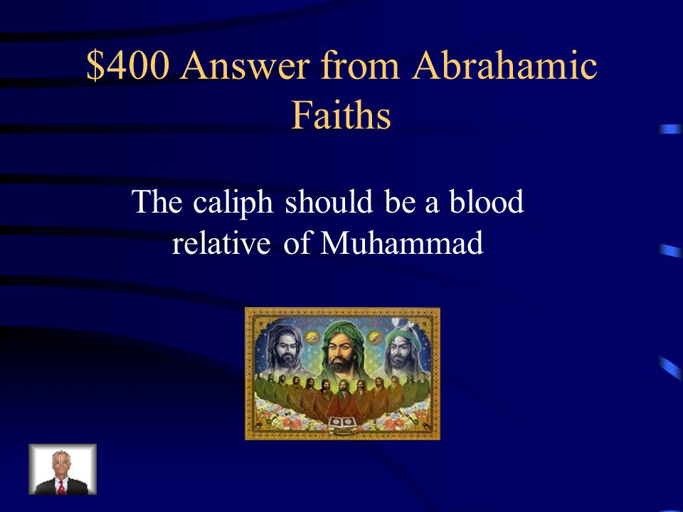 $400 Question from Abrahamic Faiths The split between Sunni and Shi'ite Muslims is over the Shi'a belief that______________.