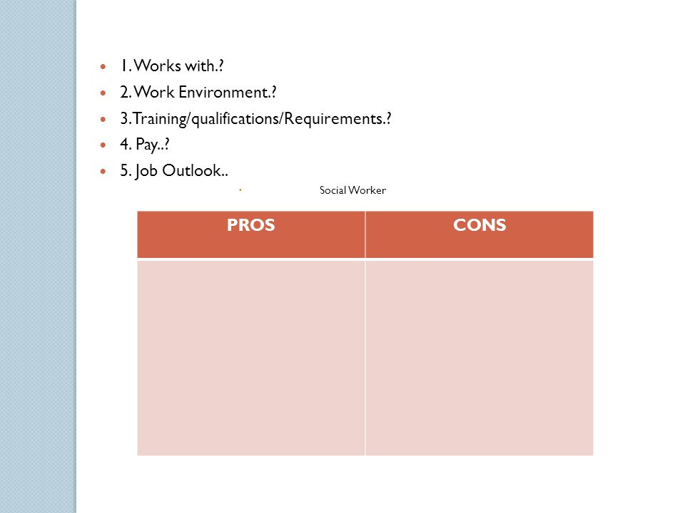 job outlook social worker proscons 1 works with 2 work environment 3training - What Is The Job Outlook For A Social Worker