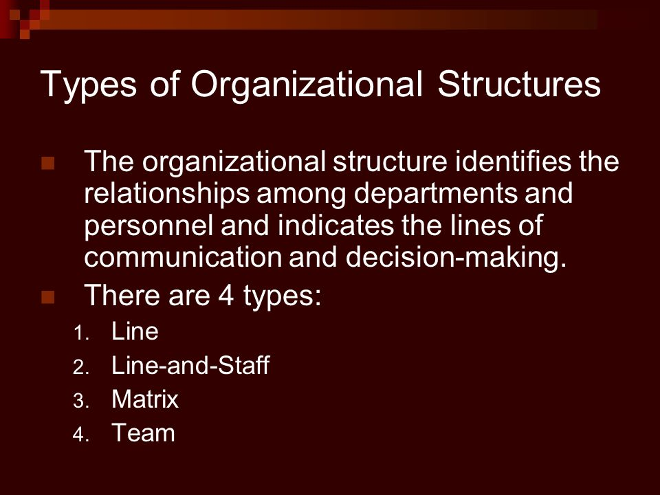 Types of Organizational Structures The organizational structure identifies the relationships among departments and personnel and indicates the lines o