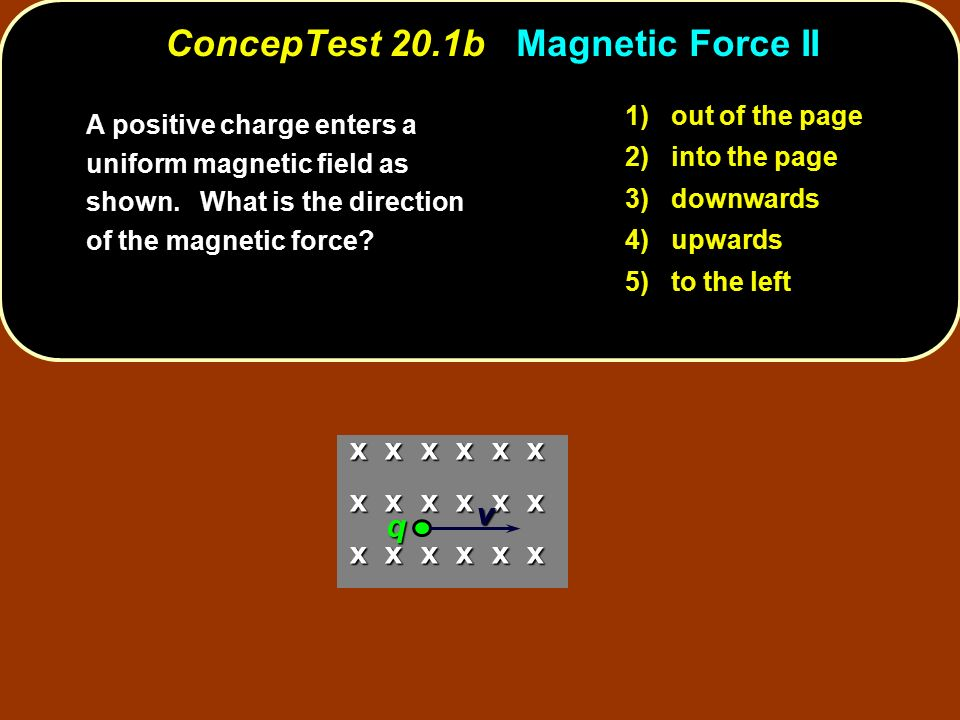 1) out of the page 2) into the page 3) downwards 4) upwards 5) to the left x x x x x x v q ConcepTest 20.1b Magnetic Force II A positive charge enters a uniform magnetic field as shown.