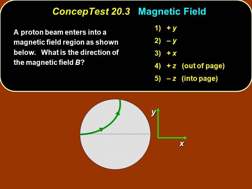 ConcepTest 20.3 Magnetic Field xy A proton beam enters into a magnetic field region as shown below.