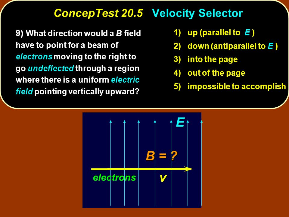ConcepTest 20.5 Velocity Selector 9) What direction would a B field have to point for a beam of electrons moving to the right to go undeflected through a region where there is a uniform electric field pointing vertically upward.
