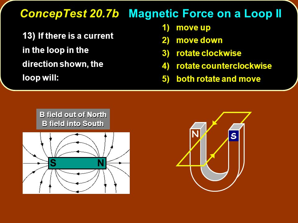 13) If there is a current in the loop in the direction shown, the loop will: 1) move up 2) move down 3) rotate clockwise 4) rotate counterclockwise 5) both rotate and move N S NS B field out of North B field into South ConcepTest 20.7b Magnetic Force on a Loop II