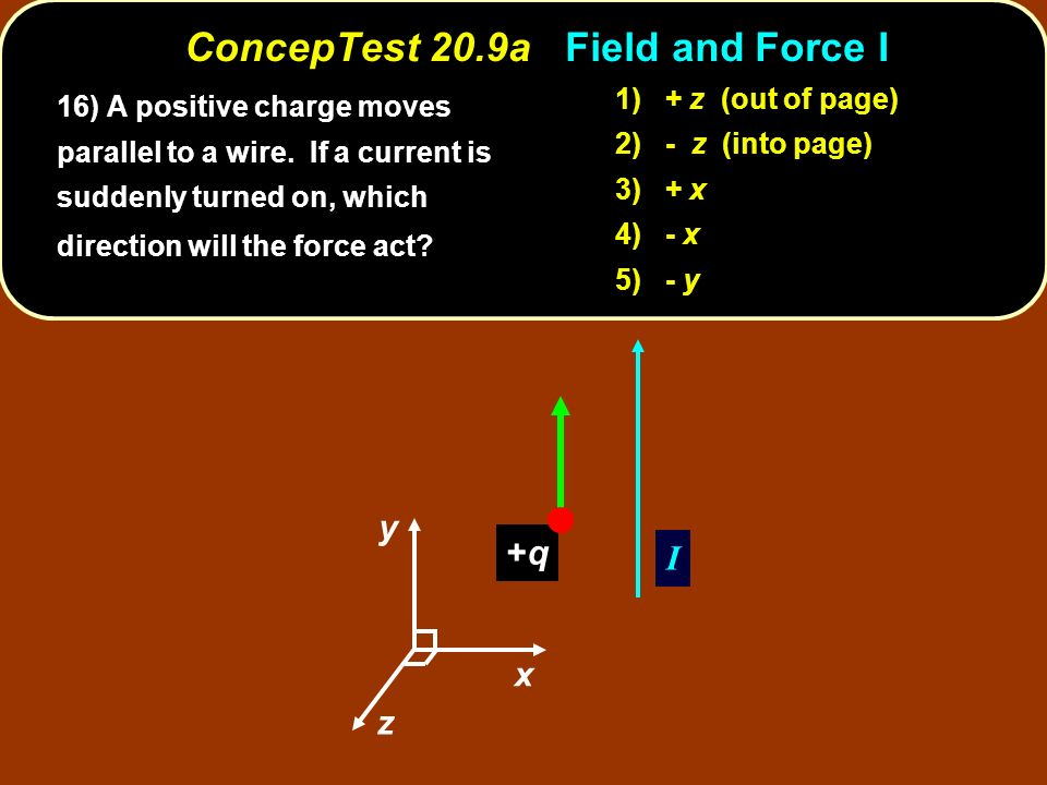 ConcepTest 20.9a Field and Force I z y x I +q+q 16) A positive charge moves parallel to a wire.