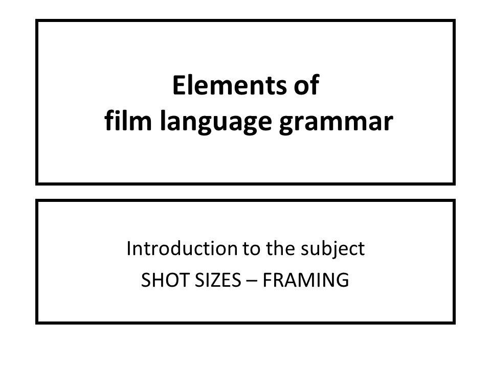 DYNAMIC IDENTITY. Elements of film language grammar Introduction to ...