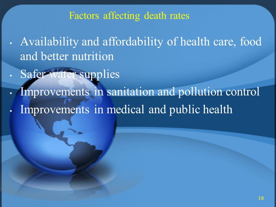 18 Factors affecting death rates Availability and affordability of health care, food and better nutrition Safer water supplies Improvements in sanitation and pollution control Improvements in medical and public health