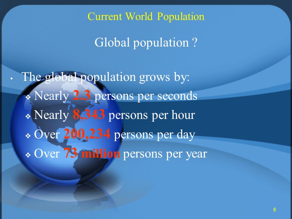 8 Current World Population Global population .