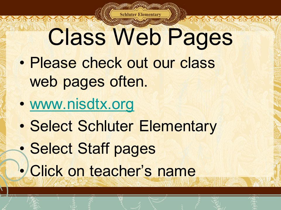 Class Web Pages Please check out our class web pages often.