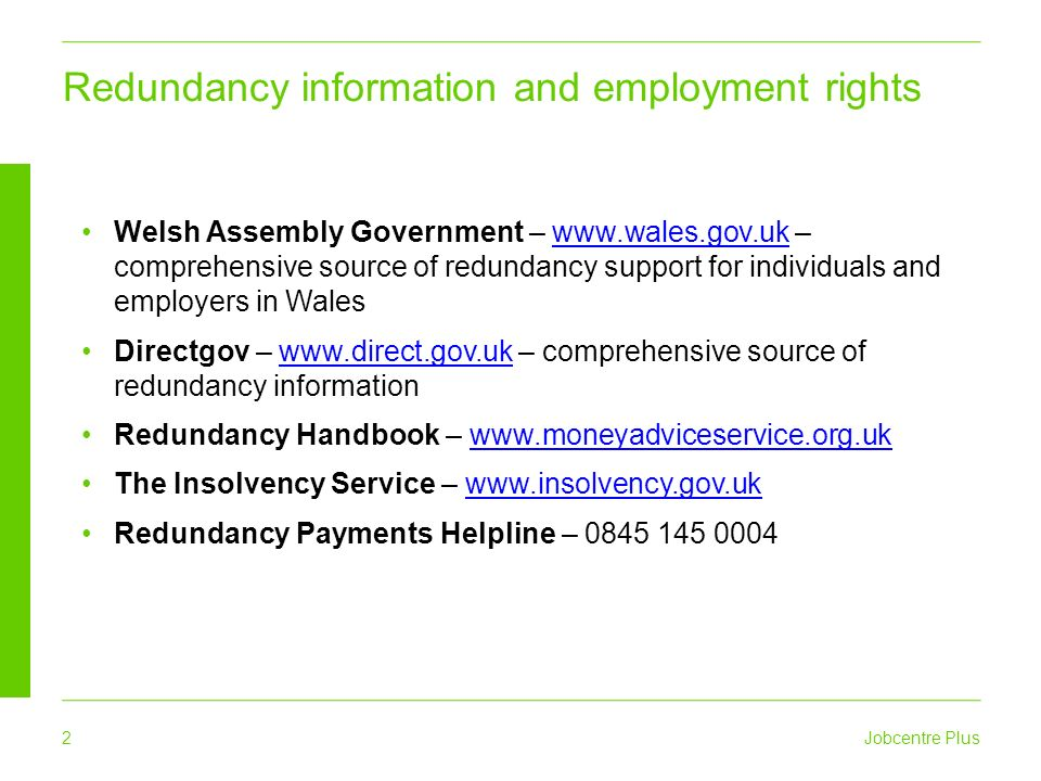 Redundancy support jobcentre plus 2 welsh assembly government 2 2 yelopaper Choice Image