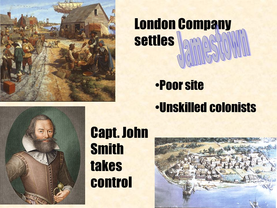 London Company settles Poor site Unskilled colonists Capt. John Smith takes control
