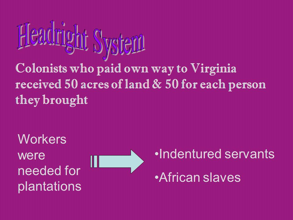 Colonists who paid own way to Virginia received 50 acres of land & 50 for each person they brought Workers were needed for plantations Indentured servants African slaves