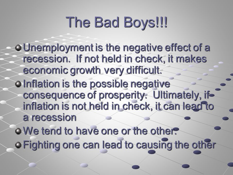 The Bad Boys!!. Unemployment is the negative effect of a recession.