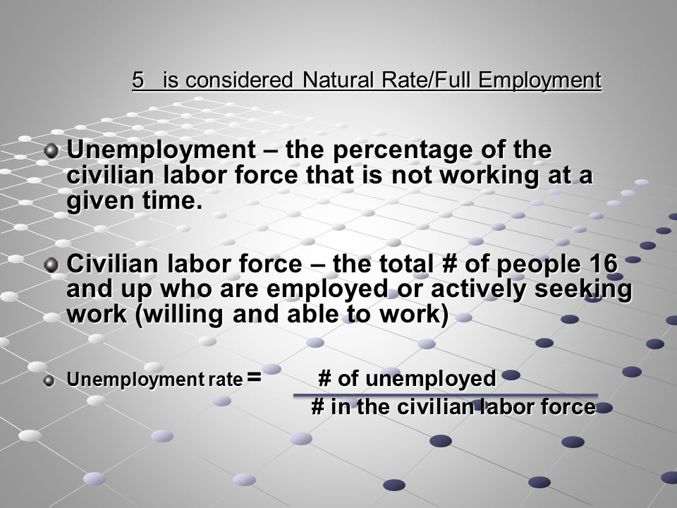 5 is considered Natural Rate/Full Employment 5 is considered Natural Rate/Full Employment Unemployment – the percentage of the civilian labor force that is not working at a given time.