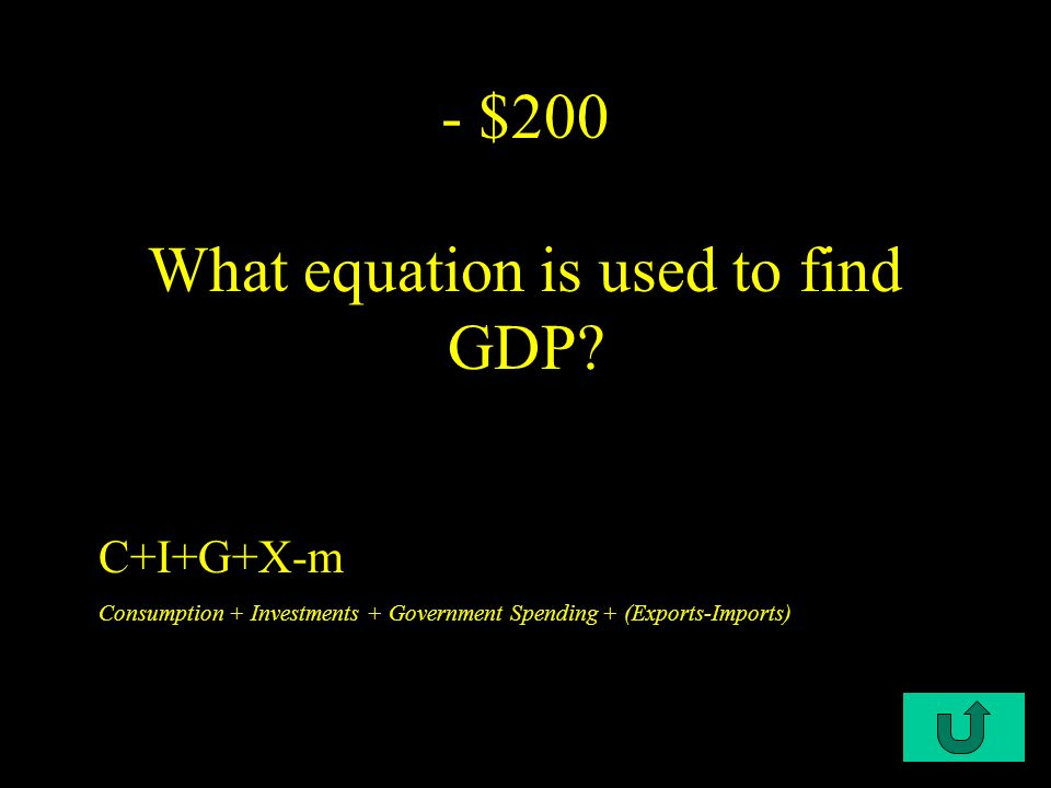 C1-$100 - $100 - $100 What is the meaning of GDP Gross Domestic Product