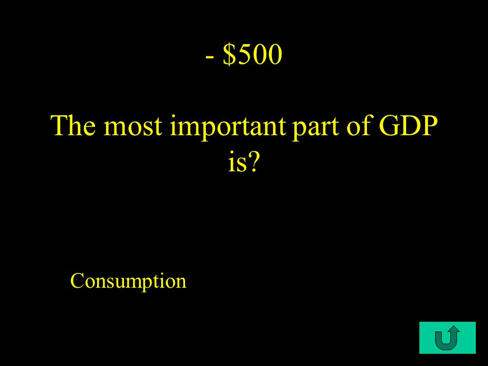 C1-$400 - $400 Market Value of the gross domestic product refers to..