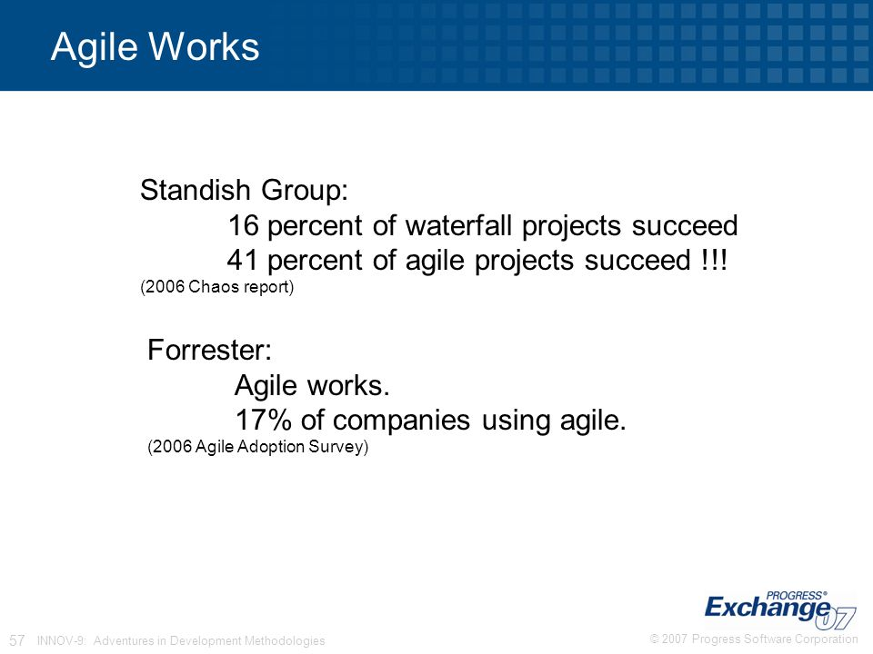 © 2007 Progress Software Corporation 57 INNOV-9: Adventures in Development Methodologies Agile Works Standish Group: 16 percent of waterfall projects succeed 41 percent of agile projects succeed !!.