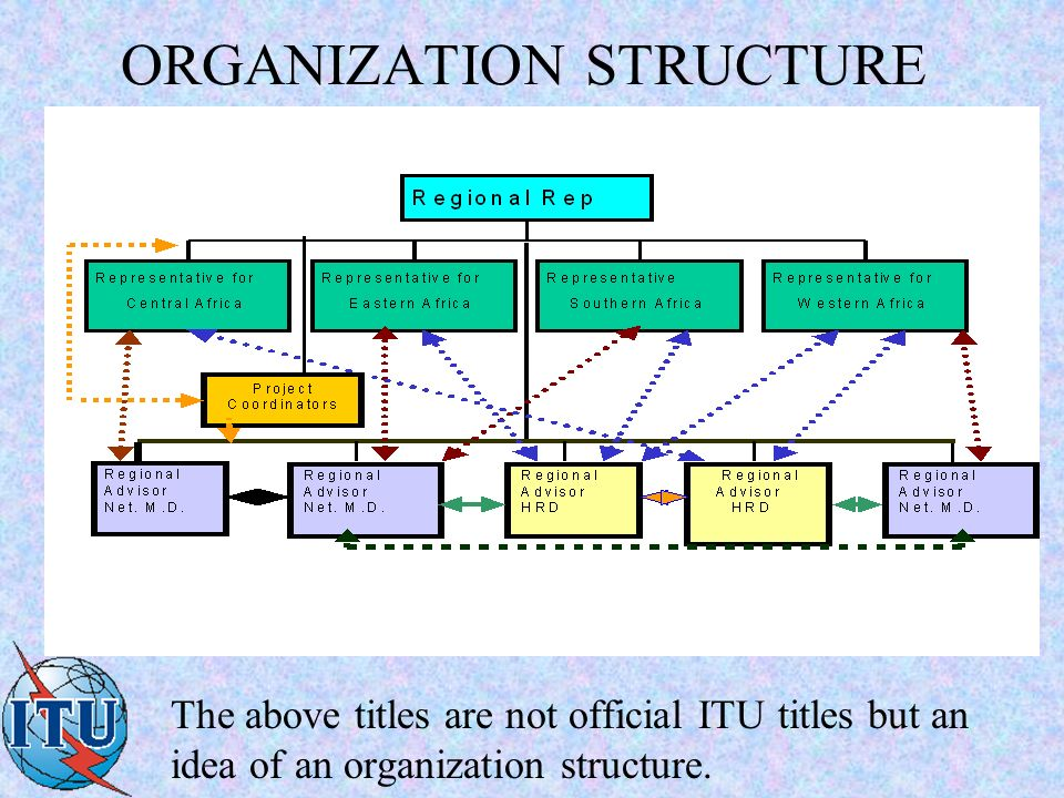 ORGANIZATION STRUCTURE The above titles are not official ITU titles but an idea of an organization structure.