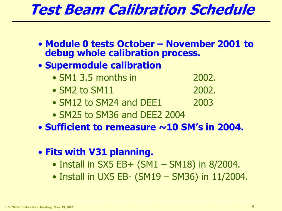 US CMS Collaboration Meeting, May 19, Critical Schedule Driver: Calibration 7 month run in 2006 at low luminosity.