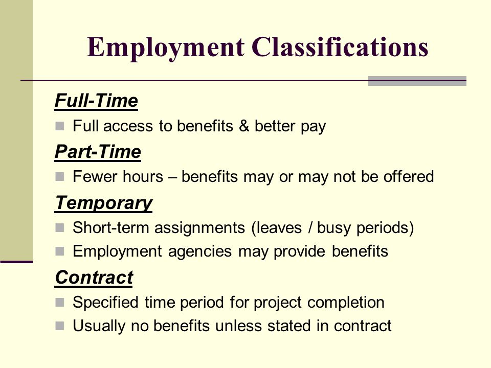 Employment Classifications Full-Time Full access to benefits & better pay Part-Time Fewer hours – benefits may or may not be offered Temporary Short-term assignments (leaves / busy periods) Employment agencies may provide benefits Contract Specified time period for project completion Usually no benefits unless stated in contract