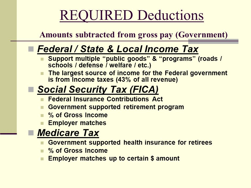 REQUIRED Deductions Amounts subtracted from gross pay (Government) Federal / State & Local Income Tax Support multiple public goods & programs (roads / schools / defense / welfare / etc.) The largest source of income for the Federal government is from Income taxes (43% of all revenue) Social Security Tax (FICA) Federal Insurance Contributions Act Government supported retirement program % of Gross Income Employer matches Medicare Tax Government supported health insurance for retirees % of Gross Income Employer matches up to certain $ amount