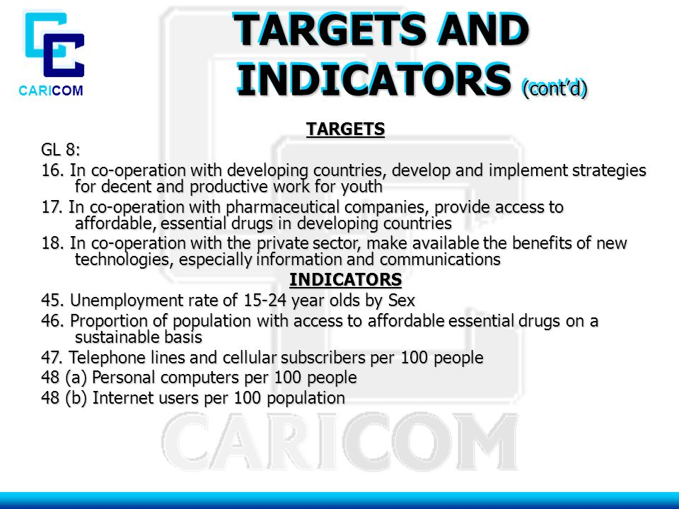CARICOM TARGETS AND INDICATORS (cont'd) INDICATORS (cont'd) TARGETS AND INDICATORS (cont'd) INDICATORS (cont'd) TARGETS GL 8: 16.