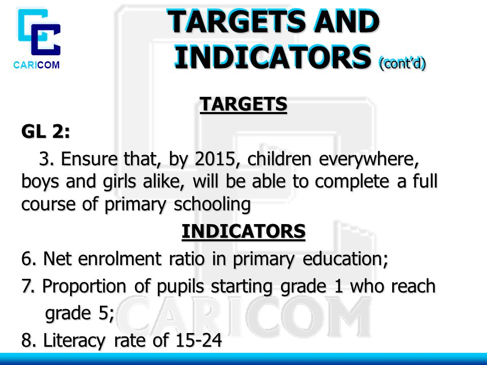 CARICOM TARGETS AND INDICATORS (cont'd) INDICATORS (cont'd) TARGETS AND INDICATORS (cont'd) INDICATORS (cont'd) TARGETS GL 2: 3.