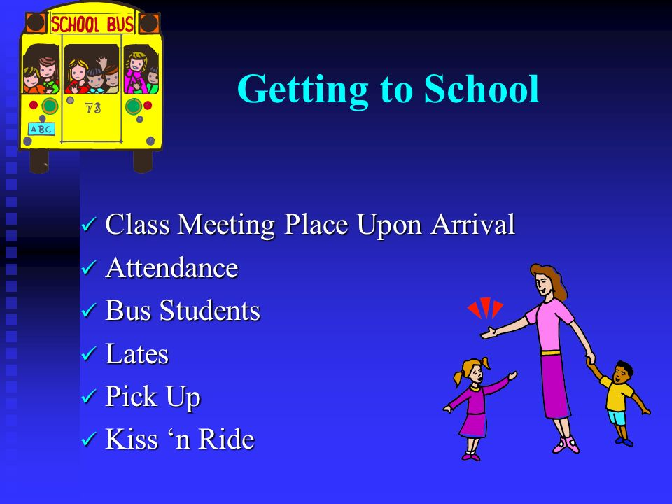 Getting to School Class Meeting Place Upon Arrival Class Meeting Place Upon Arrival Attendance Attendance Bus Students Bus Students Lates Lates Pick Up Pick Up Kiss 'n Ride Kiss 'n Ride