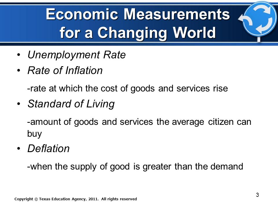 Economic Measurements for a Changing World Unemployment Rate Rate of Inflation -rate at which the cost of goods and services rise Standard of Living -amount of goods and services the average citizen can buy Deflation -when the supply of good is greater than the demand Copyright © Texas Education Agency, 2011.